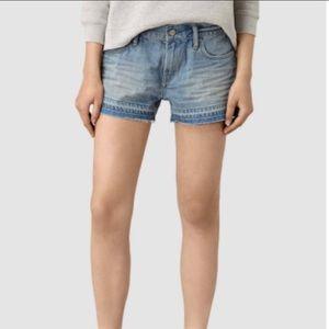 ALL SAINTS Kim Denim Released Hem Jean Shorts